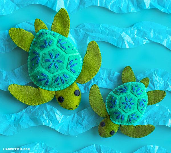 sea turtles felt sewing pattern