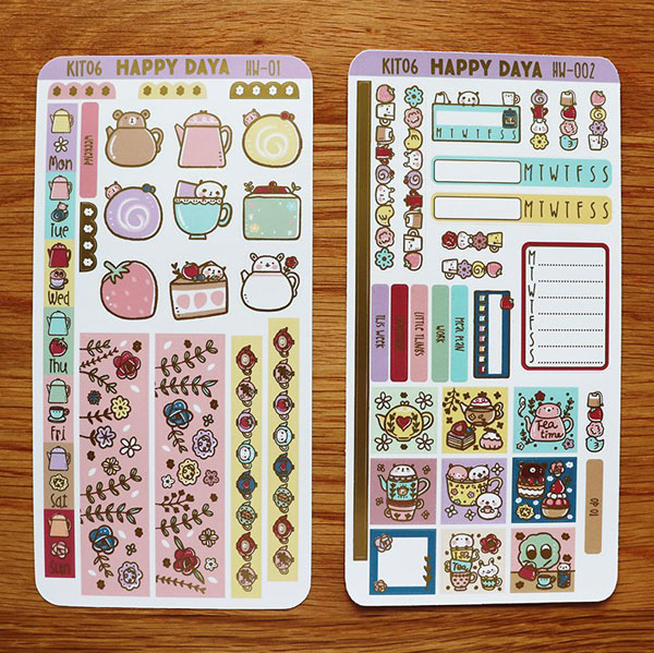 kawaii sticker sheets for journaling