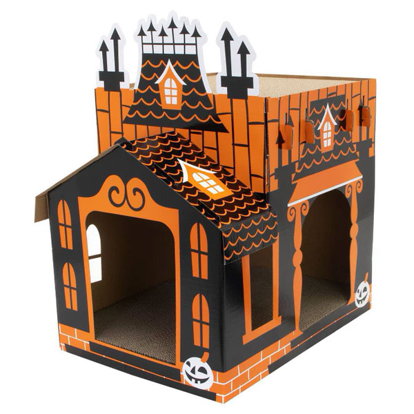 Halloween Cat Toys - haunted house cat scratcher