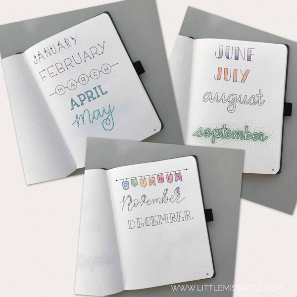 hand lettering styles for bullet journals