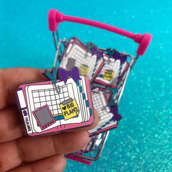 Cute Self Care Enamel Pins - planner journal