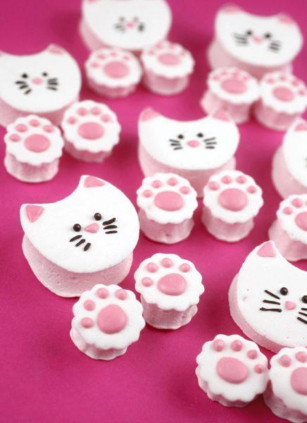 cute animal recipes - cat marshmallows