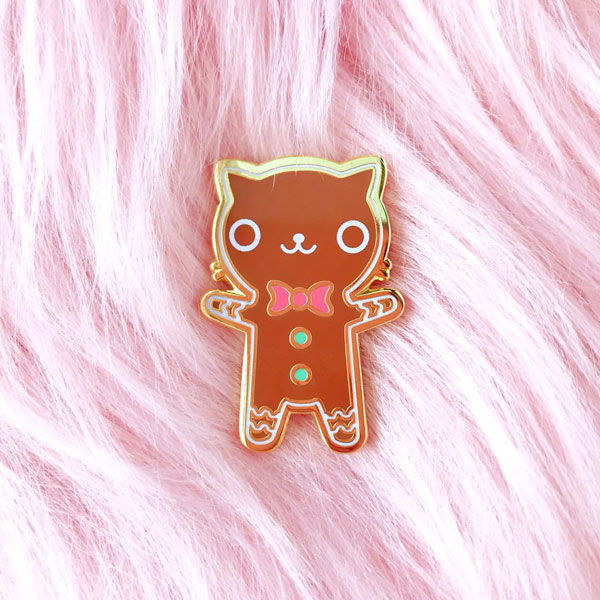 Christmas Enamel Pins - gingerbread cat