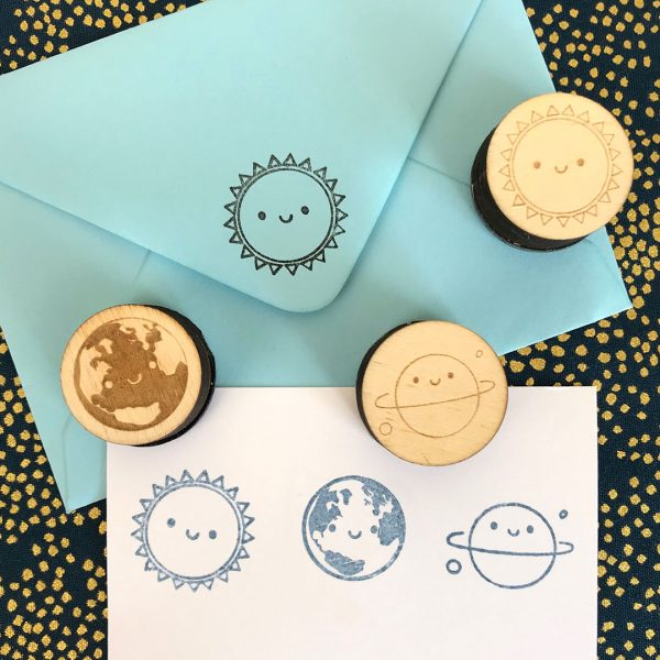kawaii space rubber stamps