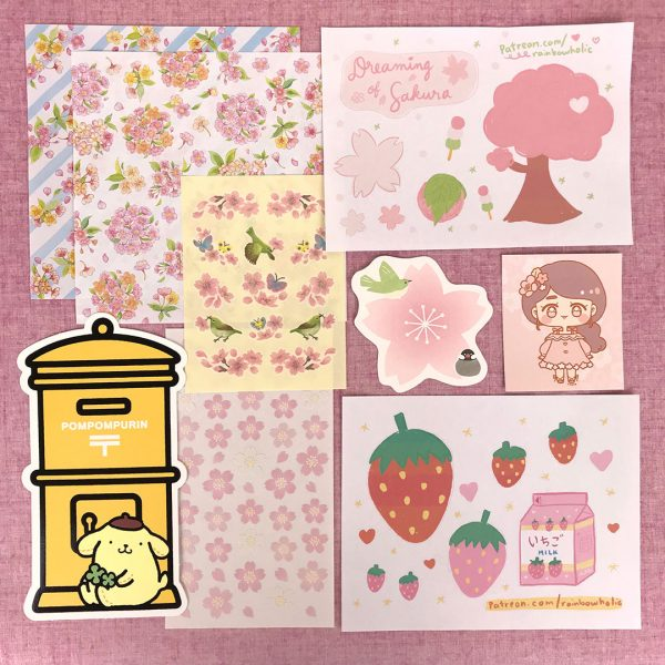 Rainbowholic Patreon sakura stationery