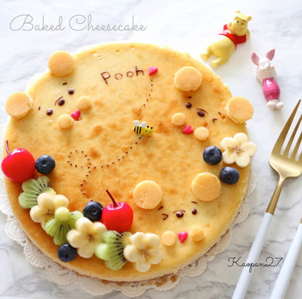 Winnie-the-Pooh Baked Cheesecake kawaii recipe