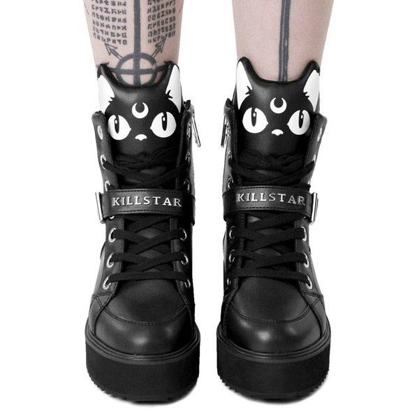 Spooky Cute black cat high tops boots