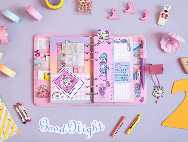graphic relating to Diy Planner Organizer called Kawaii-Do-it-yourself-Plan-Binder-Laptop-A6-Korean-Spiral-Diary