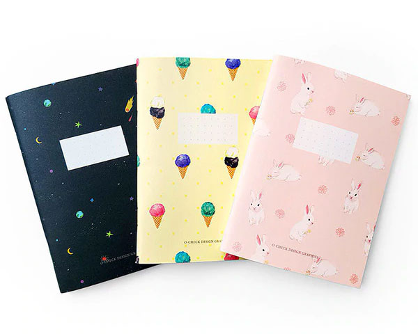 patterned kawaii notebooks