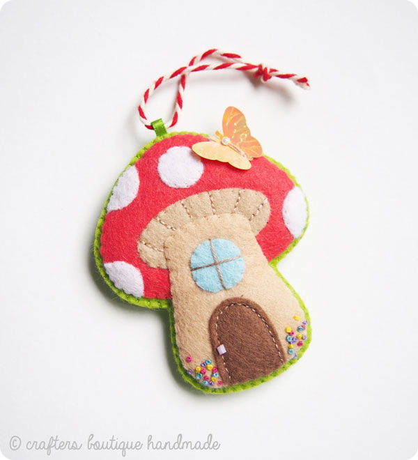 toadstool house ornament sewing pattern