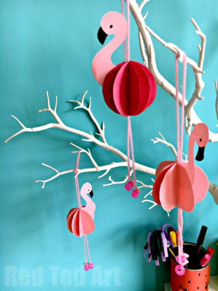 Flamingo DIYs - paper craft decorations