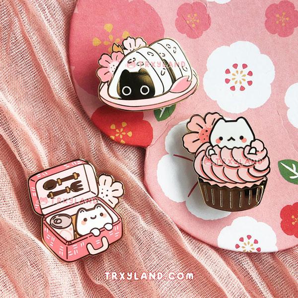 sakura picnic enamel pins
