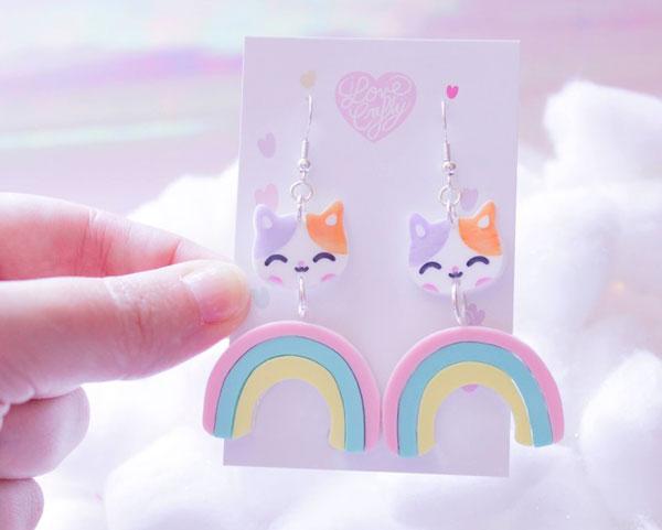 kawaii earrings - rainbow cats