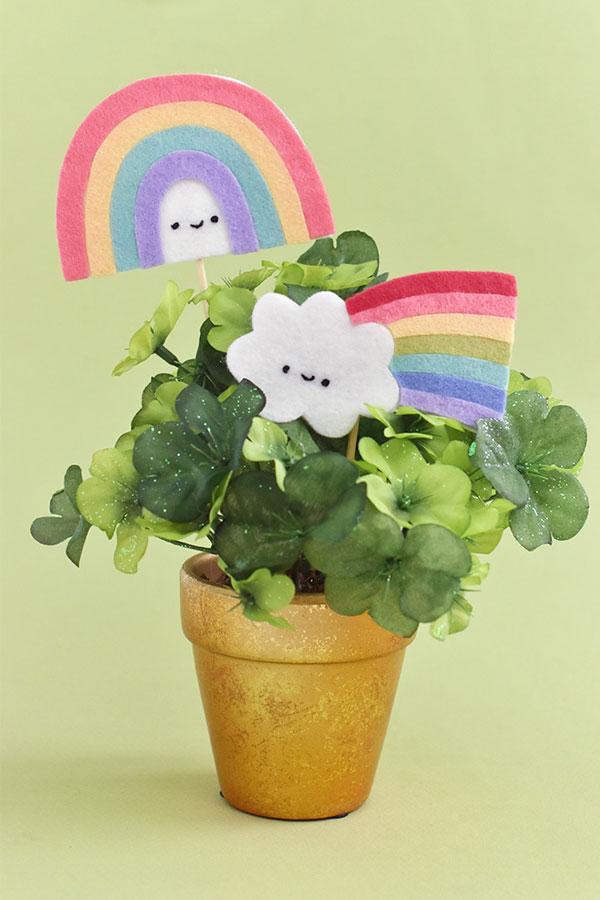 kawaii rainbow plant picks DIY