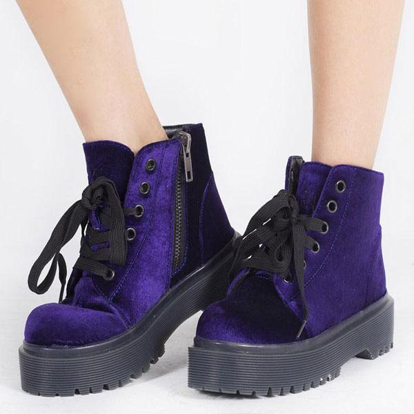 Ultra Violet velvet boots