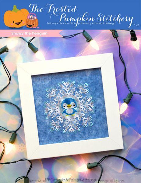 snowflake penguin cross stitch pattern