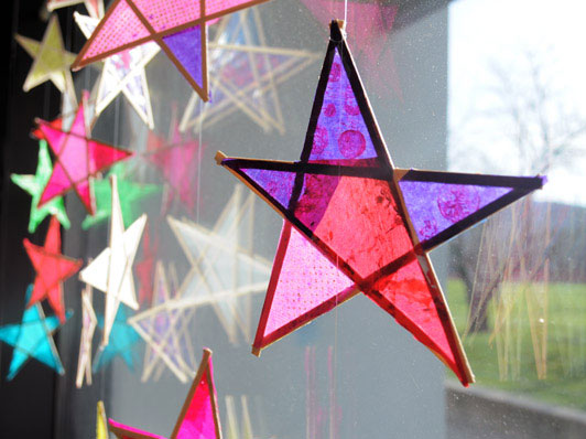 DIY stained glass tissue stars
