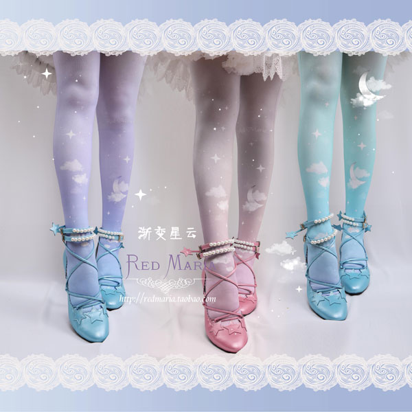 Japanese Lolita fashion pastel moon tights