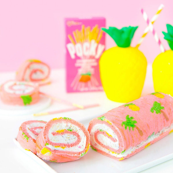 tropical fruit pocky roll cake