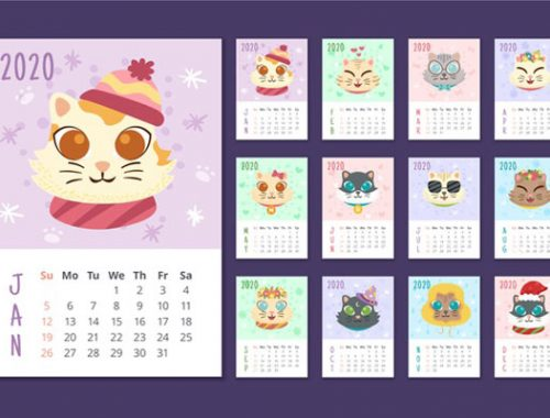 Free 2020 Printable Calendars - animals