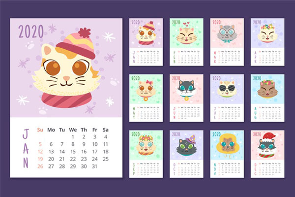 Free 2020 Printable Calendars - animals