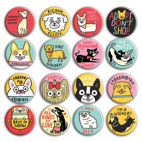 dogs badges pins