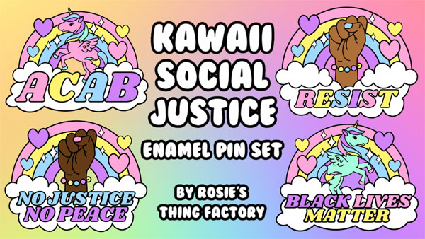Kawaii Kickstarter Projects - social justice enamel pins