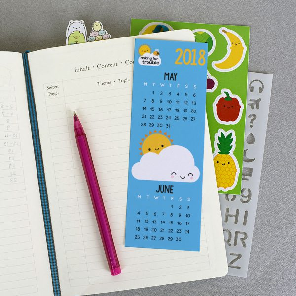 Kawaii Printable Journal Stickers calendar bookmark