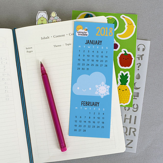 calendar bookmark for journals