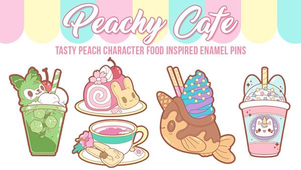 Peachy Cafe kawaii enamel pins