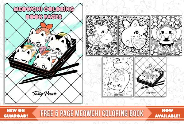 Kawaii Printable Coloring Pages - Meowchi cats
