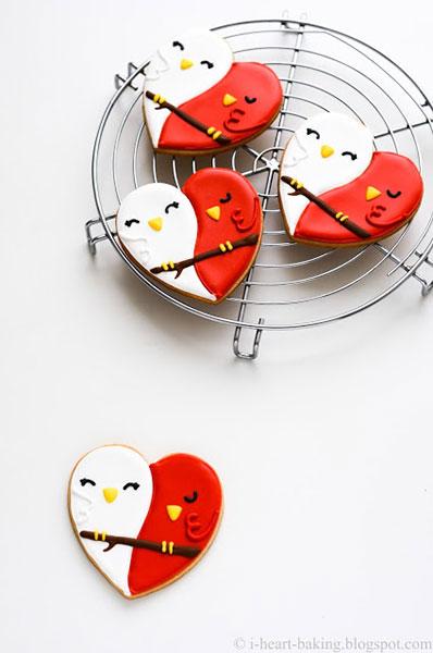 Valentine's Day DIY lovebird cookies