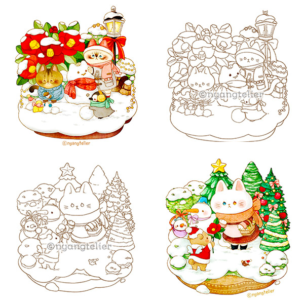 Kawaii Printable Coloring Pages - winter scenes