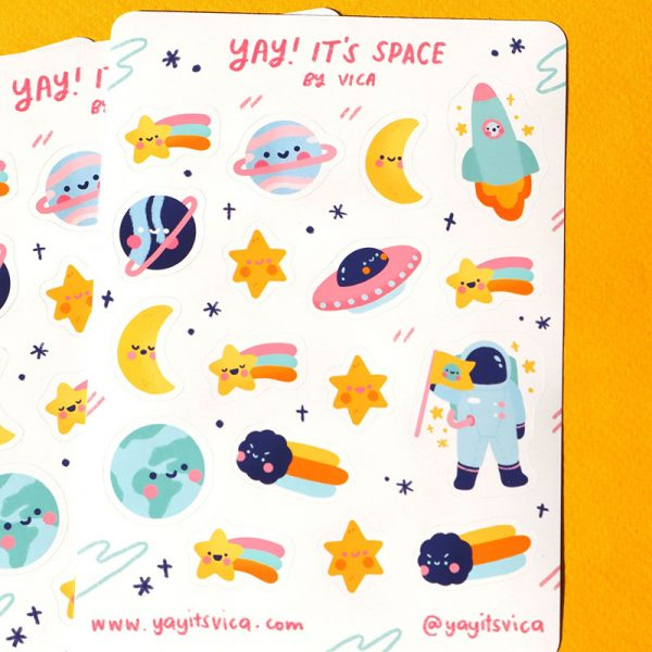 Cute Pastel Galaxy planner stickers