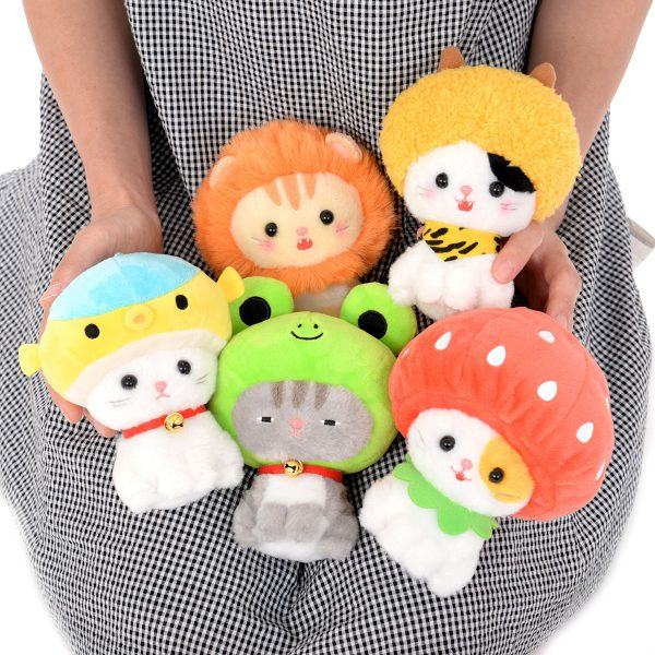 whimsical plushies kawaii cats wearing hats