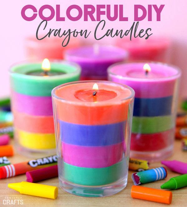 DIY rainbow candles