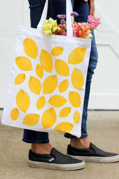 upcycled fabric sewing projects - stamped tote bag