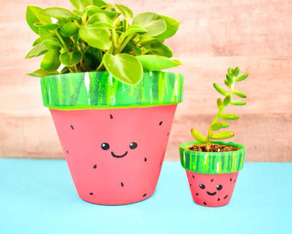 kawaii watermelon planter DIY