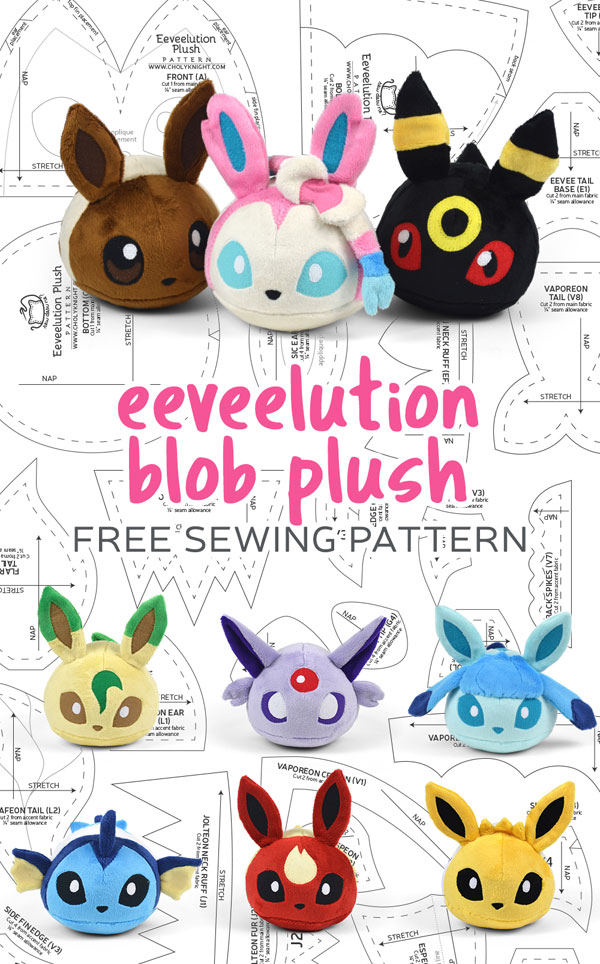 Pokemon Day - Eevee plush free sewing patterns