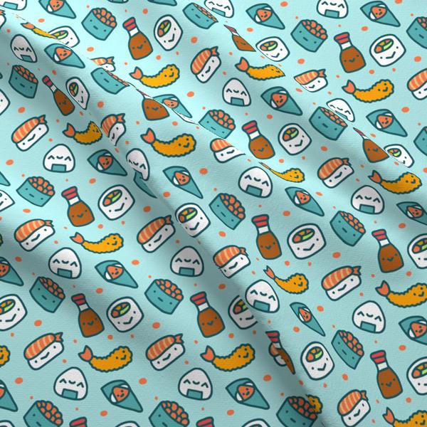 kawaii sushi fabric