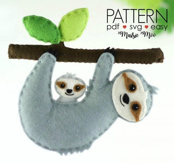 felt animal crafts sloth