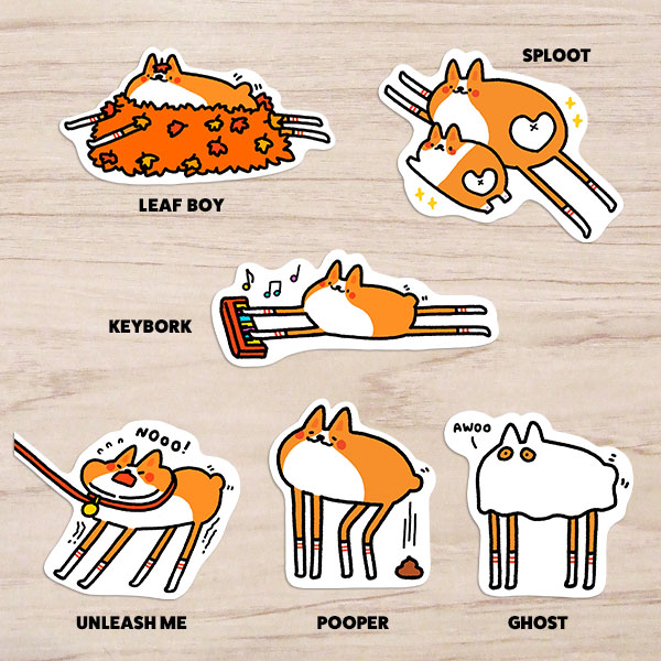 kawaii corgi stickers