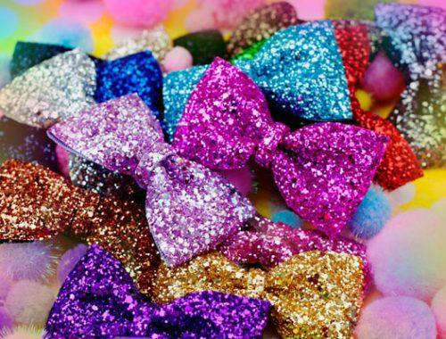 glitter hair bows