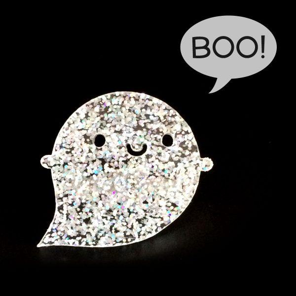 kawaii glitter ghost pin