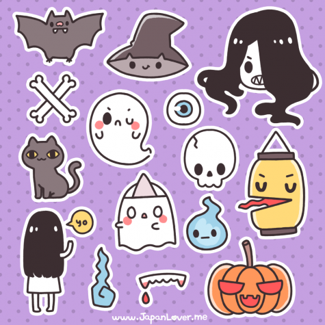 Japan lover me have a creepy cute japanese halloween themed sticker sheet that you can download