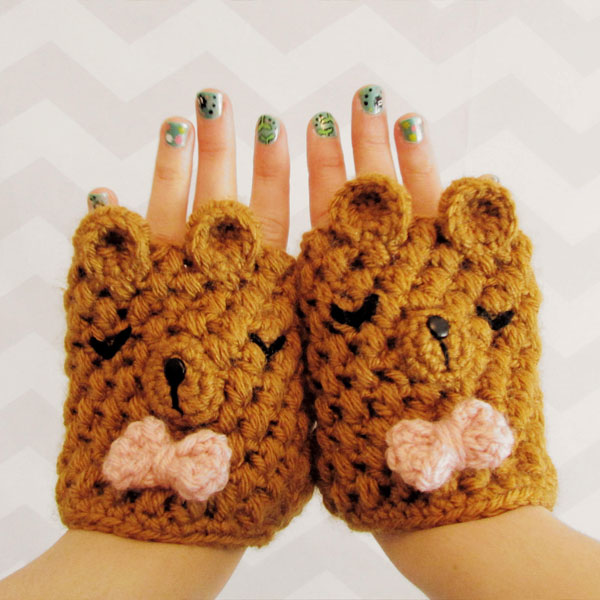 kawaii bear mittens