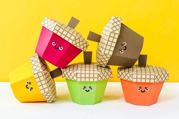 free printable acorn treat boxes