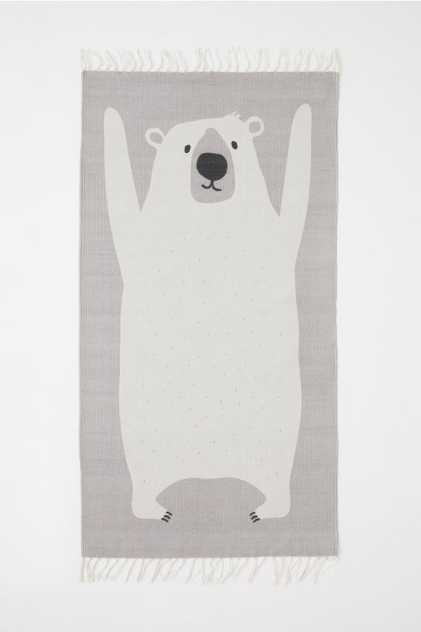 H&M Home kawaii polar bear rug