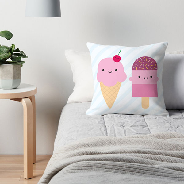 kawaii ice cream pillow