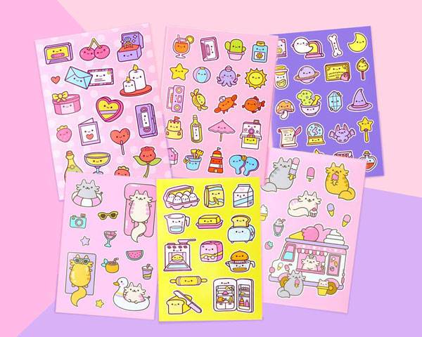 kawaii stickers - cats and food